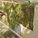 limestone wall%2C pressure washing